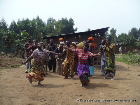 The tribe dancing for us