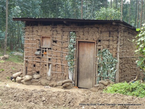 One of the huts the tribe live in