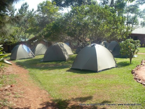 Our tents set up at the Adrift centre in Jinja