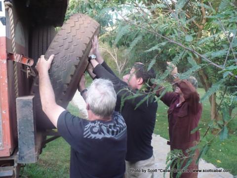 Fixing Oscars flat tyre