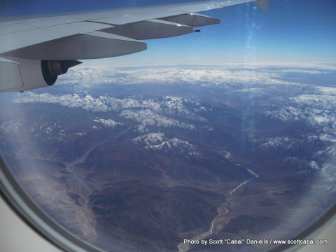 Flying over Tibet en route to Beijing
