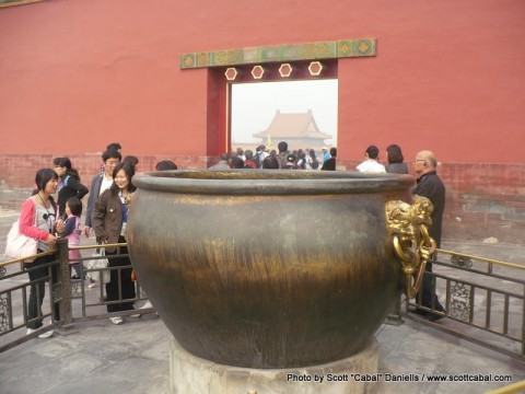 A bucket used for holding fire for extinguishing fires in The Forbidden City