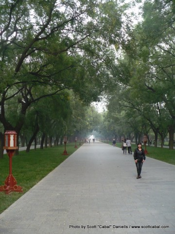 Walking through the Temple of Heaven gardens on the way out