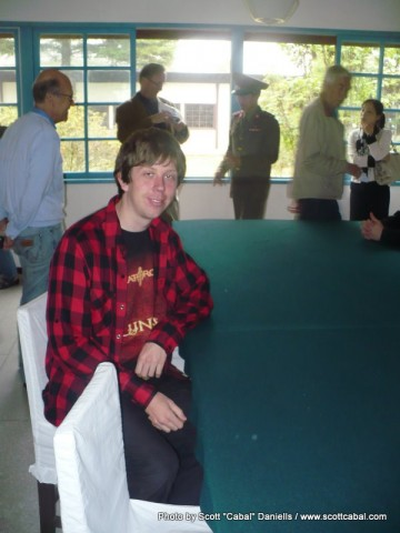 Me in the hut where peace talks took place