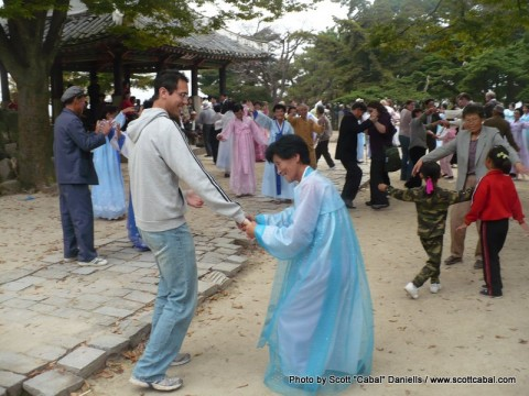 Dancing with the locals in Kaesong