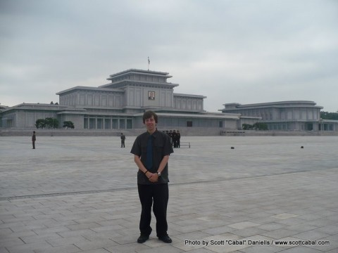 Me outside the Kumsusan Memorial Palace