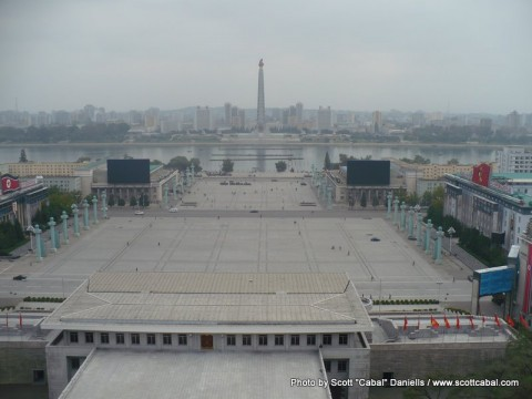 Kim il-Sung Square as seen from the Grand People's Study House