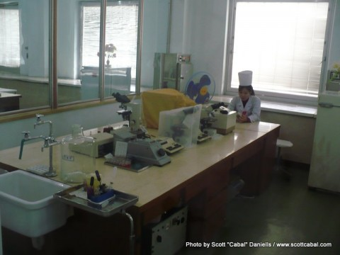 The labs at the Pyongyang Maternity Hospital