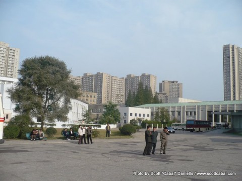 Apartment buildings behind the Pyongyang Military Circus