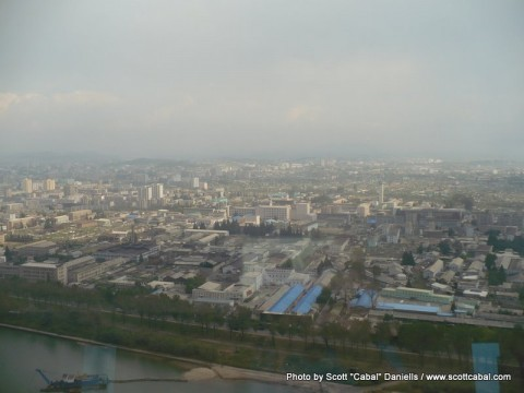 Pyongyang as seen from the revolving restaurant
