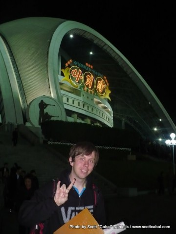 Me outside the May Day Stadium after the Mass Games