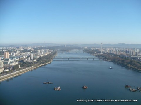 Good views over Pyongyang this morning