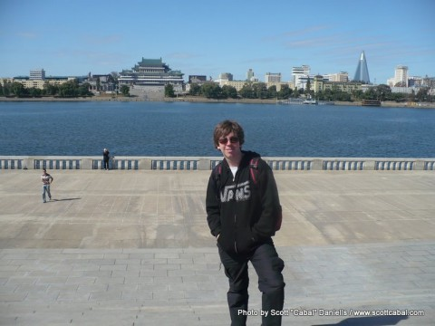 Me overlooking the Taedong River looking towards Kim il-Sung Square