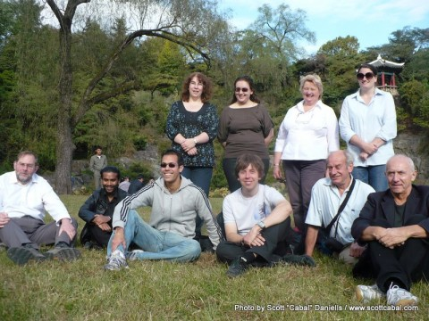 A photo of our tour group in Moran Hill Park