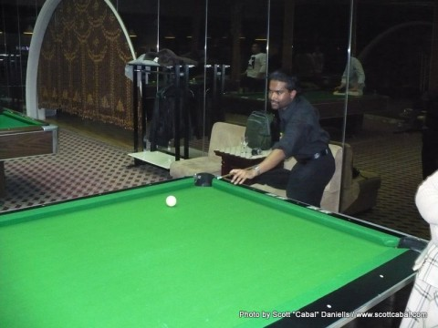Playing pool in the Yanggakdo Hotel
