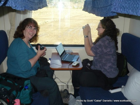 Celia and Venessa on the train