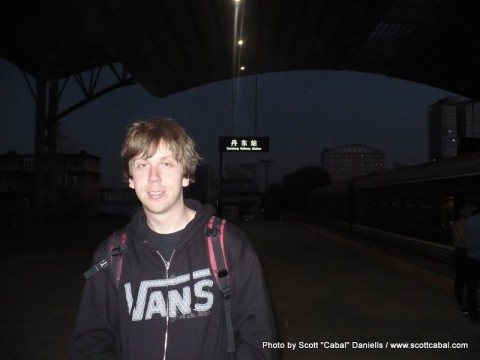 Me on the platform at Dandong Railway Station
