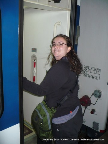 Vanessa reboarding the train back to Beijing