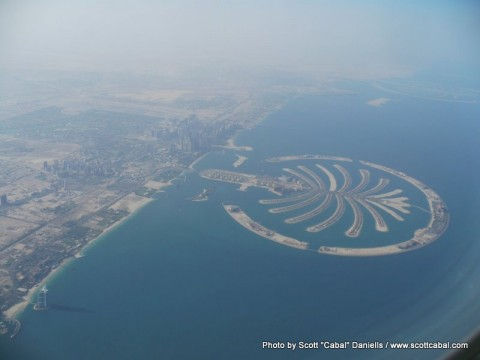 Dubai from the air - the Burj al Arab and Palm Islands are clearly visible