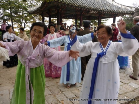 Locals dancing in Kaesong