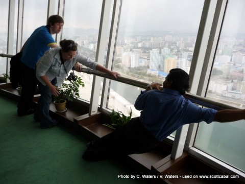 Seeing who could hold onto the revolving restaurant the longest