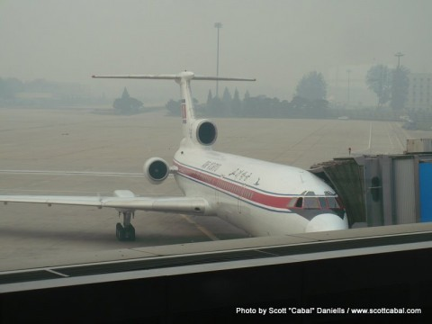 The Tupolev 154 plane at Beijing Airport
