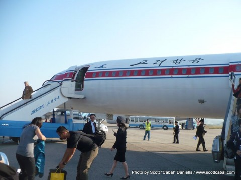 The Tupolev 154 which flew us to Pyongyang