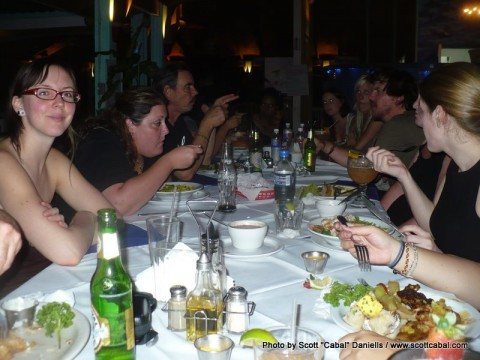 Group meal on Roatan