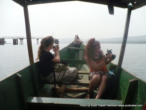 On a boat going across Lake Victoria
