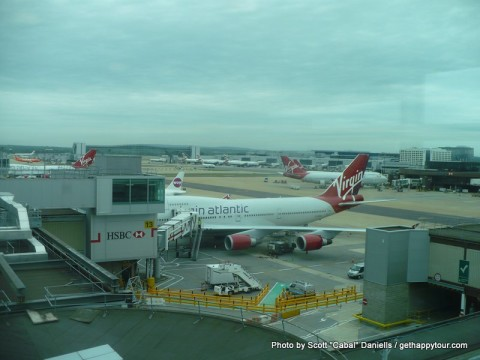 The view of Gatwick Airport while having breakfast