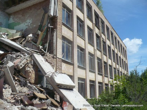 A collapsed school