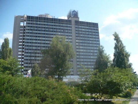 This is a view of the Hotel Rus