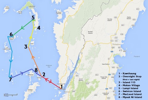 Map of Myanmar Sailing Trip