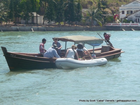 Transferring to the dinghy