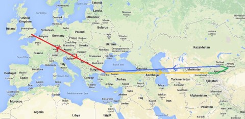 The entire route I'll be taking, including the flights.